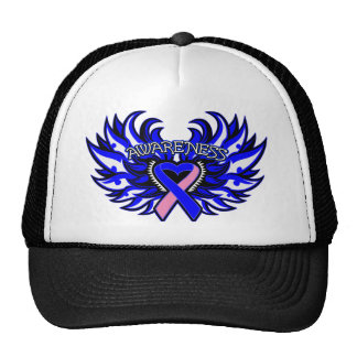 Male Breast Cancer Awareness Heart Wings.png Mesh Hat