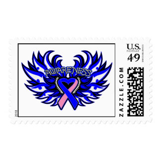 Male Breast Cancer Awareness Heart Wings Stamp
