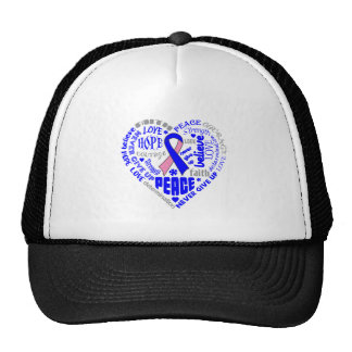 Male Breast Cancer Awareness Heart Words Trucker Hat