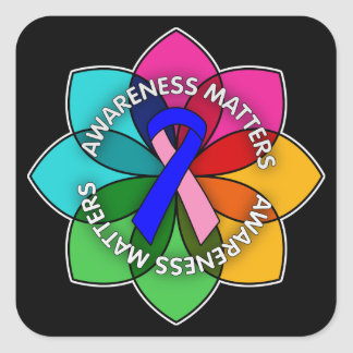 Male Breast Cancer Awareness Matters Petals Square Sticker