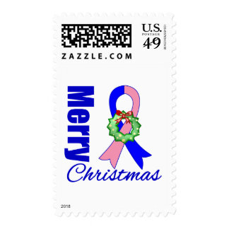 Male Breast Cancer Awareness Merry Christmas Ribbo Postage
