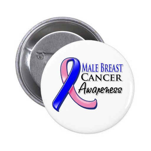 Male Breast Cancer Awareness Ribbon 2 Inch Round Button