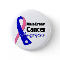 Male Breast Cancer Awareness Ribbon Pinback Button