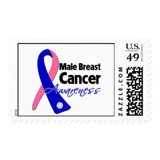 Male Breast Cancer Awareness Ribbon Postage Stamps