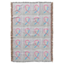 Male Breast Cancer Awareness Ribbon Throw Blanket