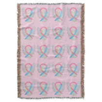Male Breast Cancer Awareness Ribbon Throw Blankets