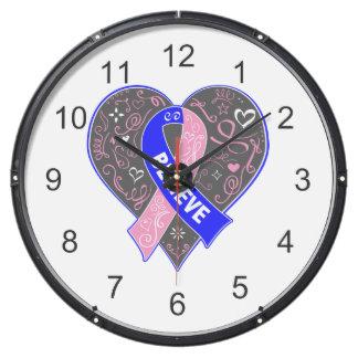Male Breast Cancer Believe Ribbon Heart Fish Tank Clocks