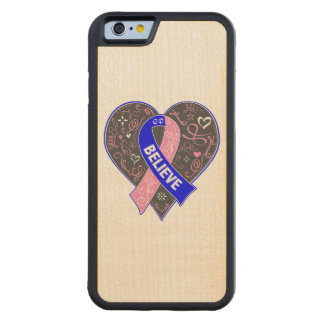 Male Breast Cancer Believe Ribbon Heart Carved® Maple iPhone 6 Bumper