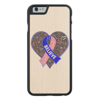 Male Breast Cancer Believe Ribbon Heart Carved® Maple iPhone 6 Case