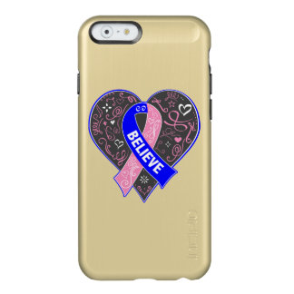Male Breast Cancer Believe Ribbon Heart Incipio Feather® Shine iPhone 6 Case