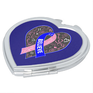 Male Breast Cancer Believe Ribbon Heart Mirror For Makeup