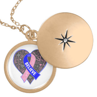 Male Breast Cancer Believe Ribbon Heart Round Locket Necklace