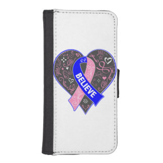 Male Breast Cancer Believe Ribbon Heart Phone Wallet Cases