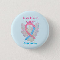 Male Breast Cancer Blue and Pink Angel Button