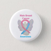Male Breast Cancer Blue and Pink Angel Pins