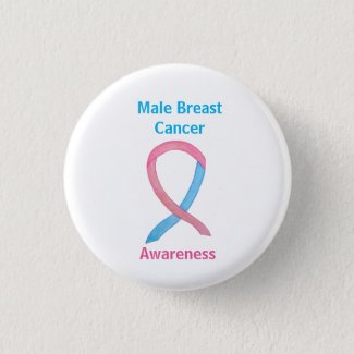 Male Breast Cancer Blue and Pink Custom Awareness Ribbon Pins