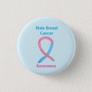 Male Breast Cancer Blue and Pink Customized Awareness Ribbons Pins