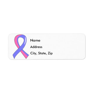 Male Breast Cancer Blue Pink Ribbon 3 Label