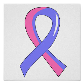 Male Breast Cancer Blue Pink Ribbon 3 Poster