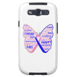 Male Breast Cancer Butterfly Collage of Words Galaxy S3 Covers