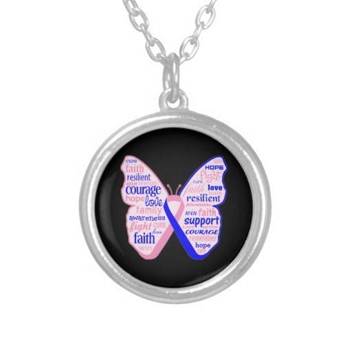 Male Breast Cancer Butterfly Collage of Words Pendant