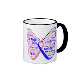 Male Breast Cancer Butterfly Collage of Words Ringer Mug