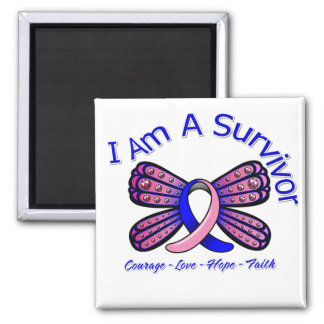 Male Breast Cancer Butterfly I Am A Survivor 2 Inch Square Magnet