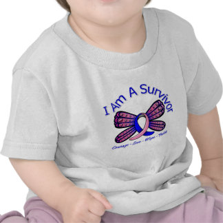 Male Breast Cancer Butterfly I Am A Survivor T Shirts