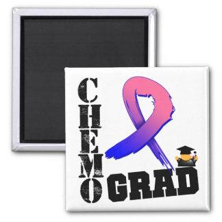 Male Breast Cancer Chemo Grad 2 Inch Square Magnet