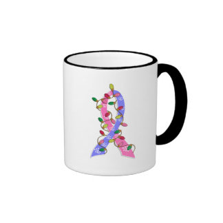 Male Breast Cancer Christmas Lights Ribbon Coffee Mugs