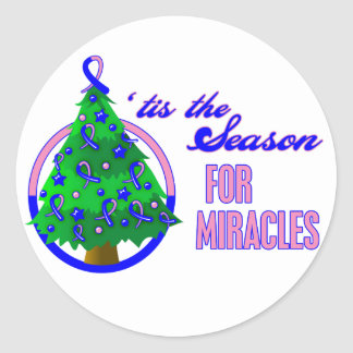 Male Breast Cancer Christmas Miracles Round Stickers