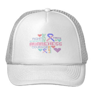 Male Breast Cancer Colorful Slogans Mesh Hat
