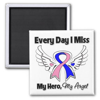 Male Breast Cancer Every Day I Miss My Hero 2 Inch Square Magnet