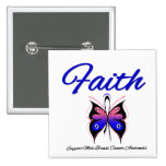 Male Breast Cancer Faith Butterfly Ribbon Button