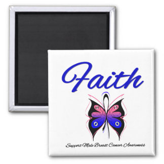 Male Breast Cancer Faith Butterfly Ribbon Refrigerator Magnet
