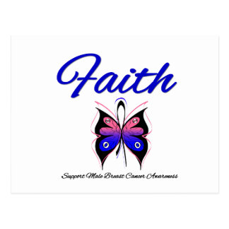 Male Breast Cancer Faith Butterfly Ribbon Postcard