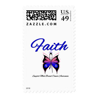 Male Breast Cancer Faith Butterfly Ribbon Stamp