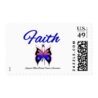 Male Breast Cancer Faith Butterfly Ribbon Stamps