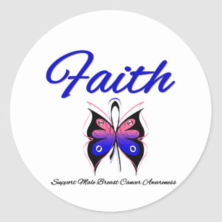 Male Breast Cancer Faith Butterfly Ribbon Stickers