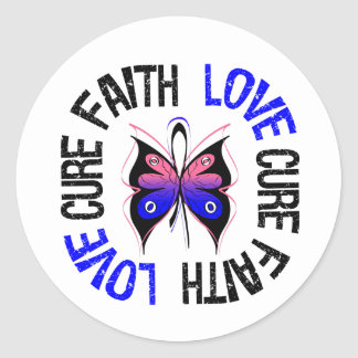 Male Breast Cancer Faith Love Cure Classic Round Sticker