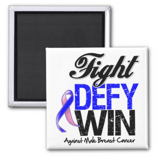 Male Breast Cancer Fight Defy Win 2 Inch Square Magnet
