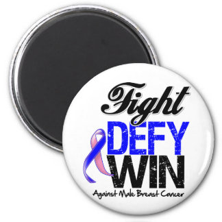 Male Breast Cancer Fight Defy Win 2 Inch Round Magnet