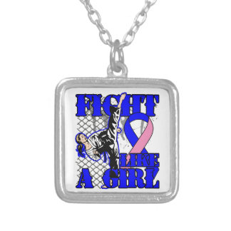 Male Breast Cancer Fight Like A Girl Kick.png Necklace