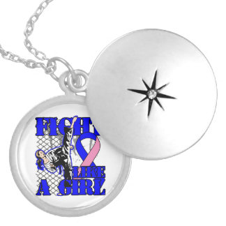 Male Breast Cancer Fight Like A Girl Kick.png Pendants