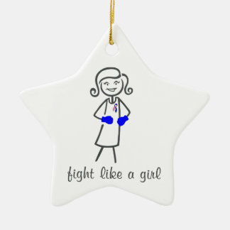 Male Breast Cancer Fight Like A Girl (Retro) Double-Sided Star Ceramic Christmas Ornament