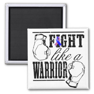 Male Breast Cancer Fight Like a Warrior 2 Inch Square Magnet