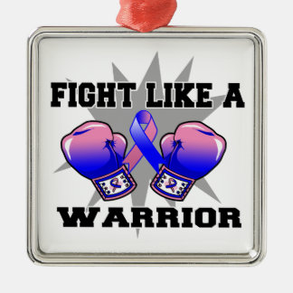 Male Breast Cancer Fight Like a Warrior Christmas Ornament