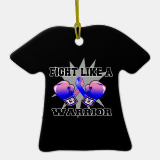 Male Breast Cancer Fight Like a Warrior Christmas Tree Ornaments