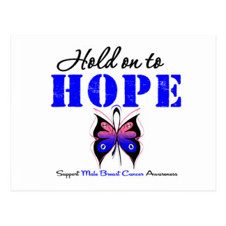 Male Breast Cancer Hold On to Hope Postcard