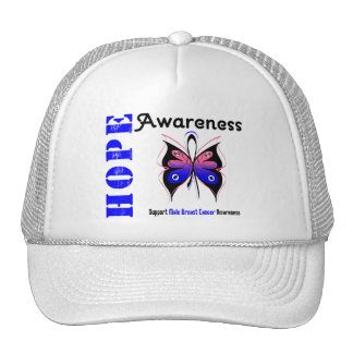 Male Breast Cancer Hope Awareness Mesh Hats